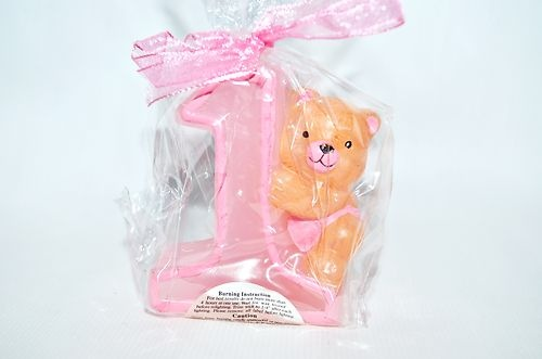 Baby Girl 1st First Birthday Candle Number One 1 Cake Topper Pink Teddy Bear | eBay