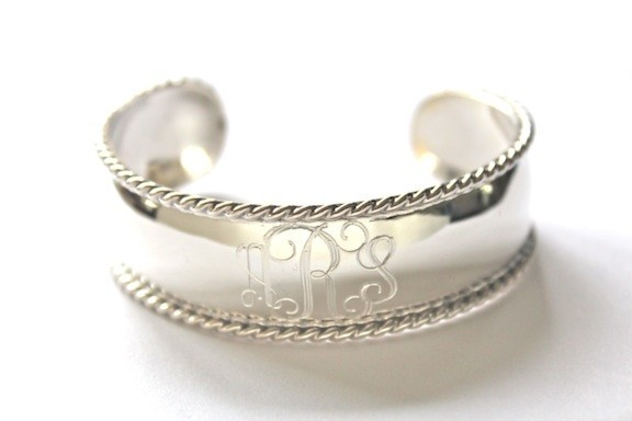 New Sterling Silver Nautical Monogram Rope Trimmed Cuff Bracelet www.SwellCaroline.com