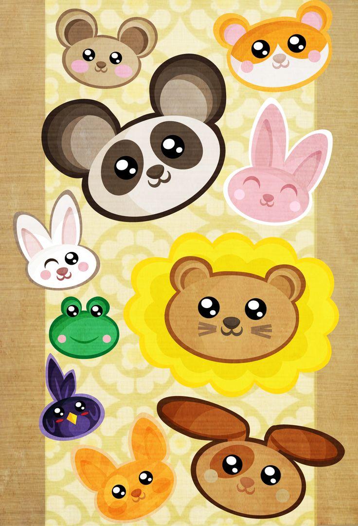 """Kawaii Madness""  Vector cute animal heads, randomly floating in mid air."