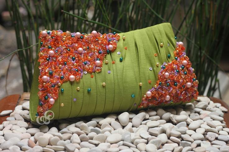Bohemian #clutchbag in fresh lime green and orange colors