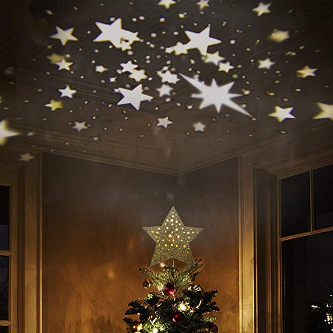 Eambrite 9 Hollow Gold Star Christmas Tree Topper With Rotating Magic Warm White Starprojector For Xmas Tree Decoration Christmas Trees Gold Christmas Decorations Xmas Tree Decorations Christmas Tree Decorations
