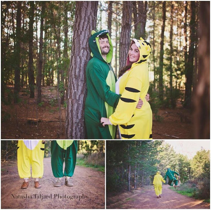 Onesies, Forrest, couple shoot, tigers, dinosaurs.
