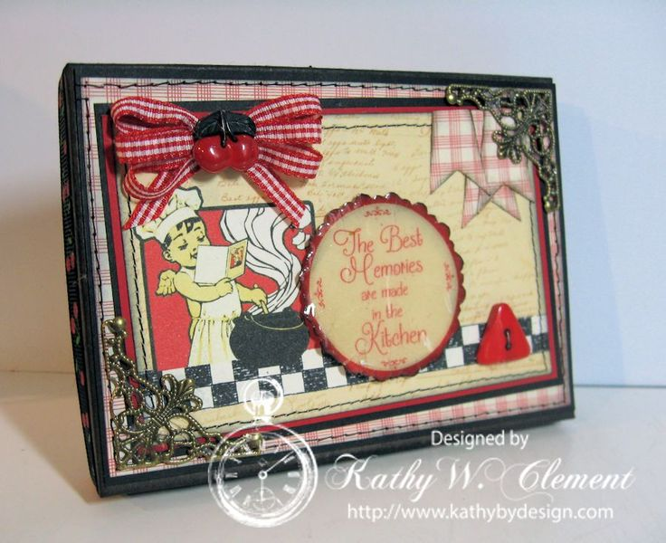 Fun Recipe Box hostess gift for the holidays by Kathy Clement using Crafty Secrets New Kitchen Memories Digital Kit. You can see several photos with recipe card dividers, how she lined the box and used UTEE to crackle the scallop sentiment on the lid. The advantage of digital is you can resize the paper, images and recipe cards to fit different size boxes or books.