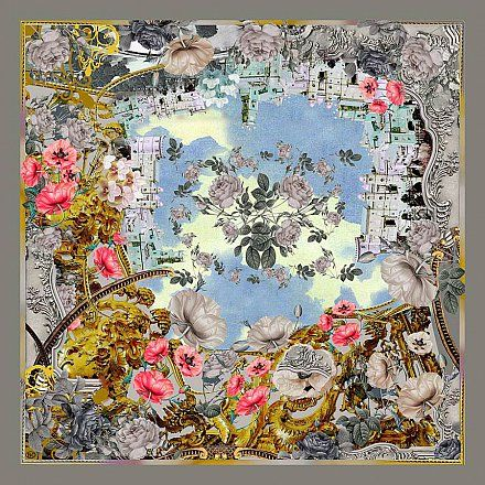 Shawl GIARDINO BAROCCO by Radical Chick - silk-wool mix, 120 * 120 cm Shawls Carre Unique Designer Russian
