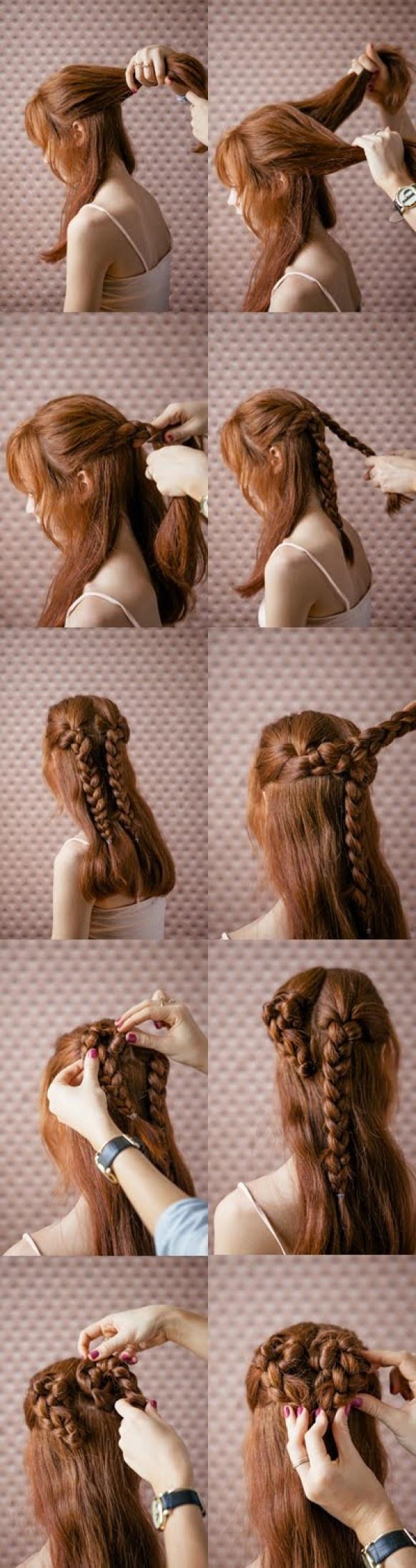 Tutoriel simple et belle Saint Valentin Coiffure Coiffures de mariage de coeur ♥ Braid pour cheveux longs