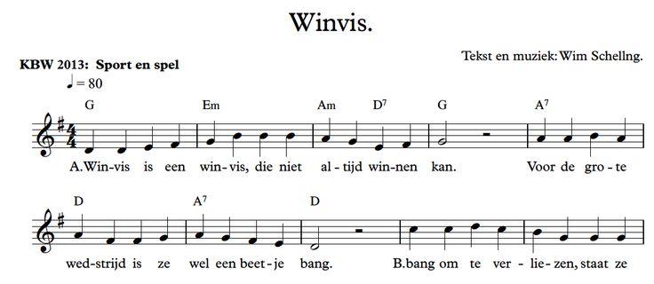 Wim Schelling (Liedjesatelier) heeft een liedje met bladmuziek en .mp3 over Winvis gemaakt: http://www.liedjes-atelier.nl/produkten/