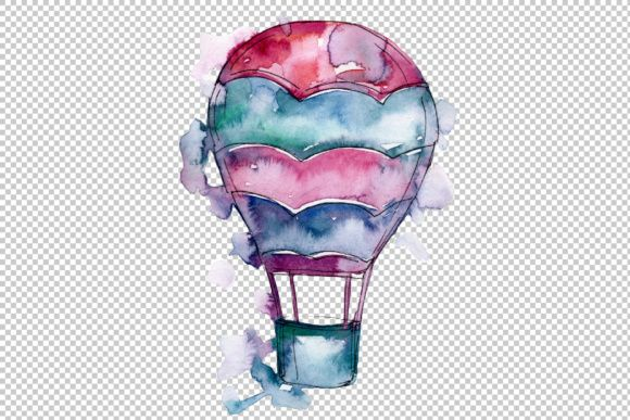 Watercolor Holiday Hot Air Balloon Png Set Hot Air Balloon Air