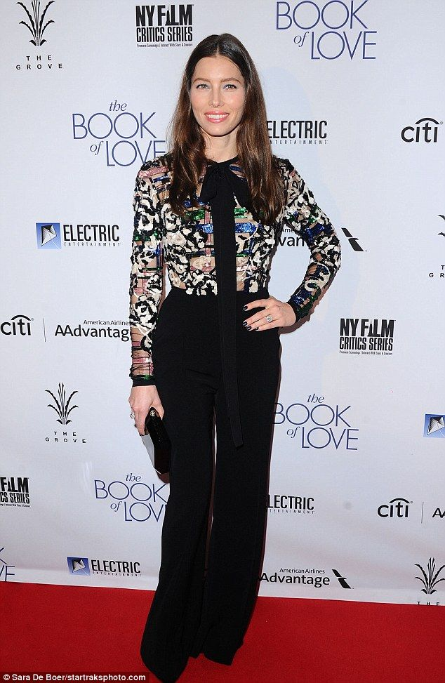Effortless: The 34-year-old actress looked gorgeous in an embellished blouse and black tro...