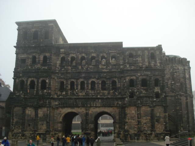 Treir Germany at the Porta Nigra (Black Gate) built back in the Roman Empire as a city gate.