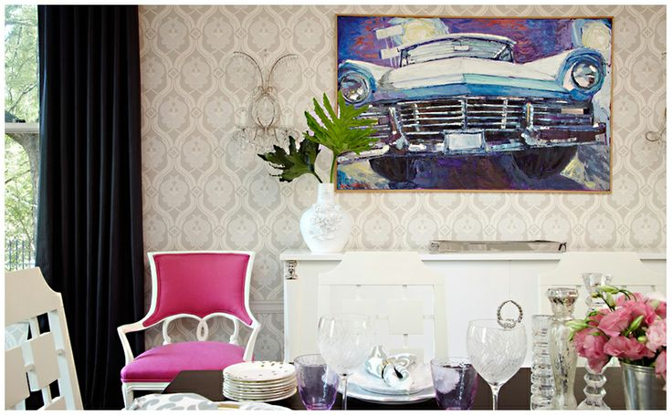 Amie Corley: Eclectic Dining Rooms, Chic Dining Rooms, Amy Corley, White Dining Chairs, Pink Chairs, Hot Pink, Dining Spaces, Corley Interiors, Paintings Chairs