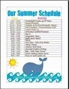 Mad about Organizing: OUR SUMMER SCHEDULE