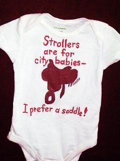 Horse Infant Bodysuit Prefer a Saddle Baby Horseback by Splashin, $16.00