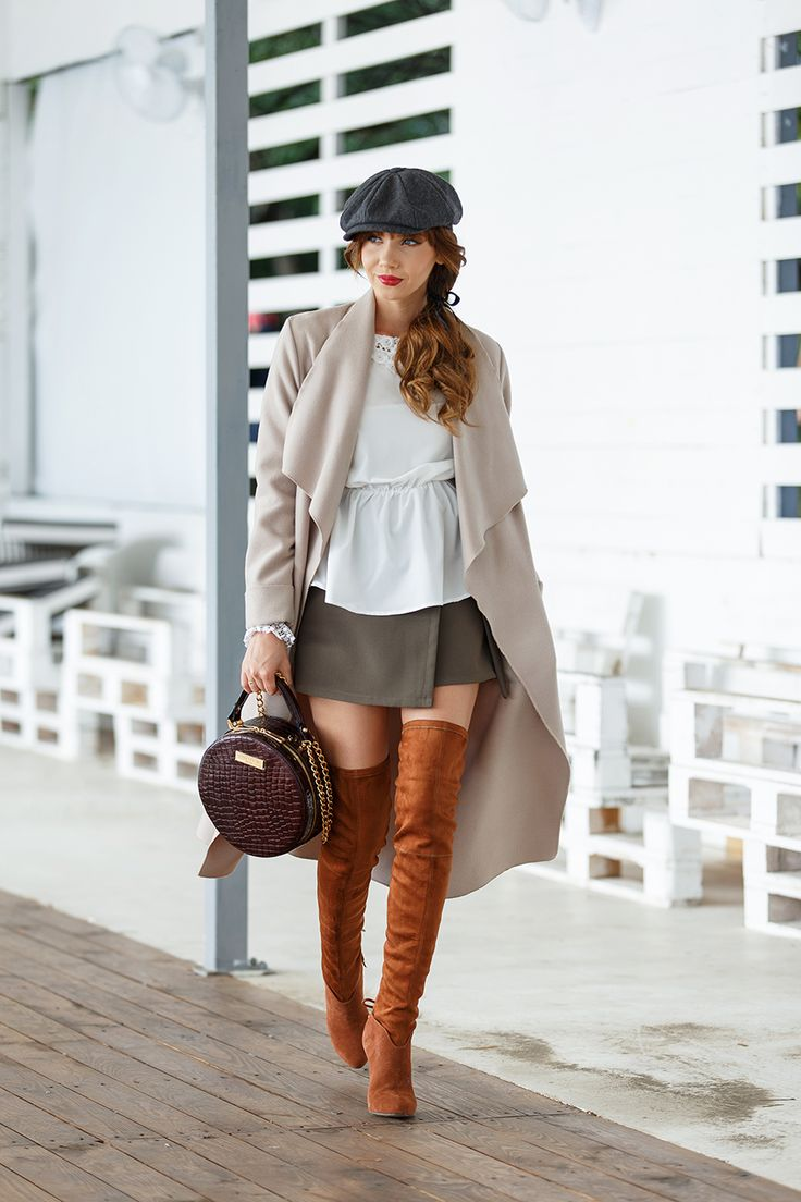 larisa costea, larisa costea blog, the mysterious girl, the mysterious girl blog, fashion blog, blogger, fashion, fashionista, it girl, travel blog, travel, traveler, ootd, lotd, outfit inspiration,look of the day,outfit of the day,what to wear, chicwish, fall outfit, high boots, over the knee boots, brown boots, jessica buurman boots, chicwish look, outfit, white lace blouse, khaki skirt, concept 15 bag, croc bag, burgundy bag, berett, hat, park, mvmt white watch, autumn outfit