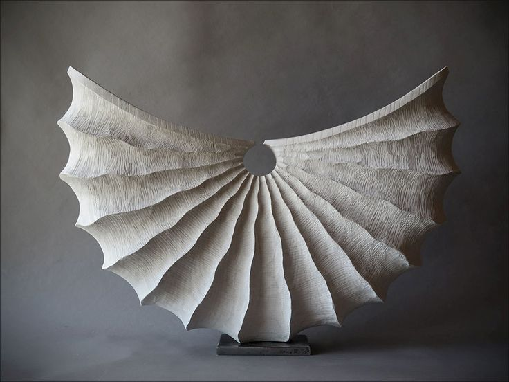 'White Shell' by French sculptor Benoît Averly (b.1980). Ash and wax, 53 cm. via Zone One Art