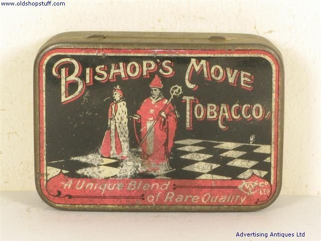 Old Tobacco Tin Bishop's Move Tobacco No Longer Available