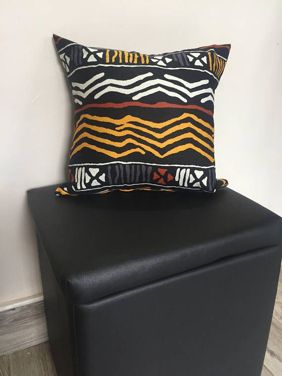 African Print Throw Pillow Case 16 X 16 Insert Not Included
