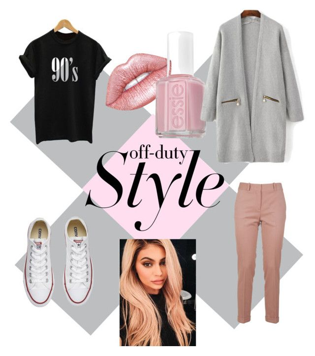 """""""Off-duty tomboy with pink"""" by salapopo on Polyvore featuring Lime Crime, Essie, Converse and Ermanno Scervino"""