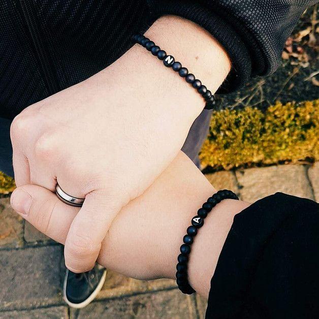Armbänder & Armreife - ♥Partnerarmbänder 2x edle Polarisperlen♥black - ein Designerstück von Mein-Schmuckzauber bei DaWanda