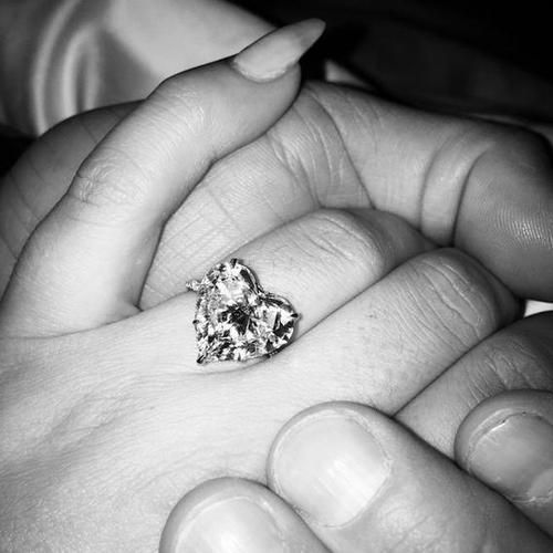 Lady Gaga's rare engagement ring https://www.yahoo.com/style/why-lady-gagas-heart-shaped-ring-is-so-rare-111301008213.html