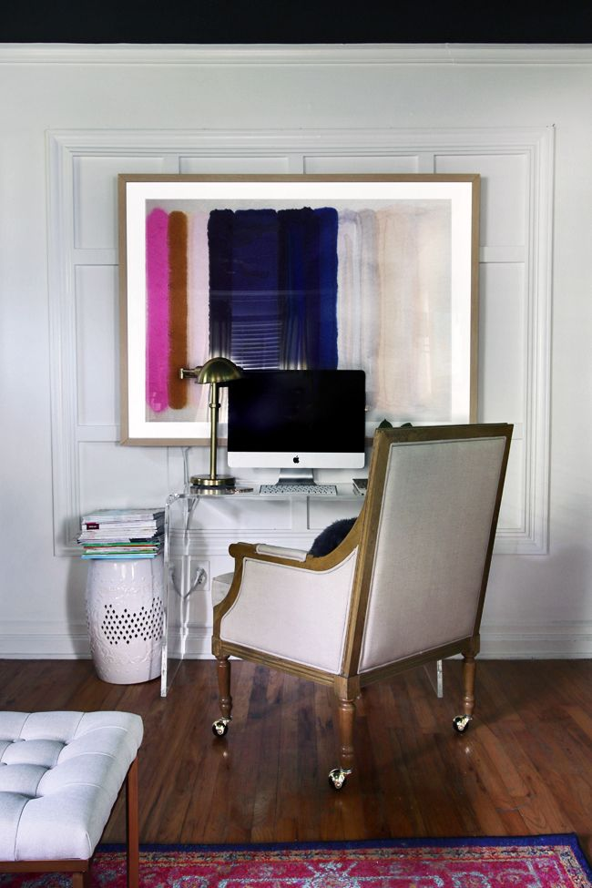Large Scale Artwork // Lucite Desk // Great Solution for a small workspace.