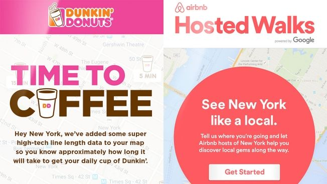 Dunkin' Donuts and Airbnb have launched new advertising campaigns for Times Square linking their ads to Google Maps.With New...