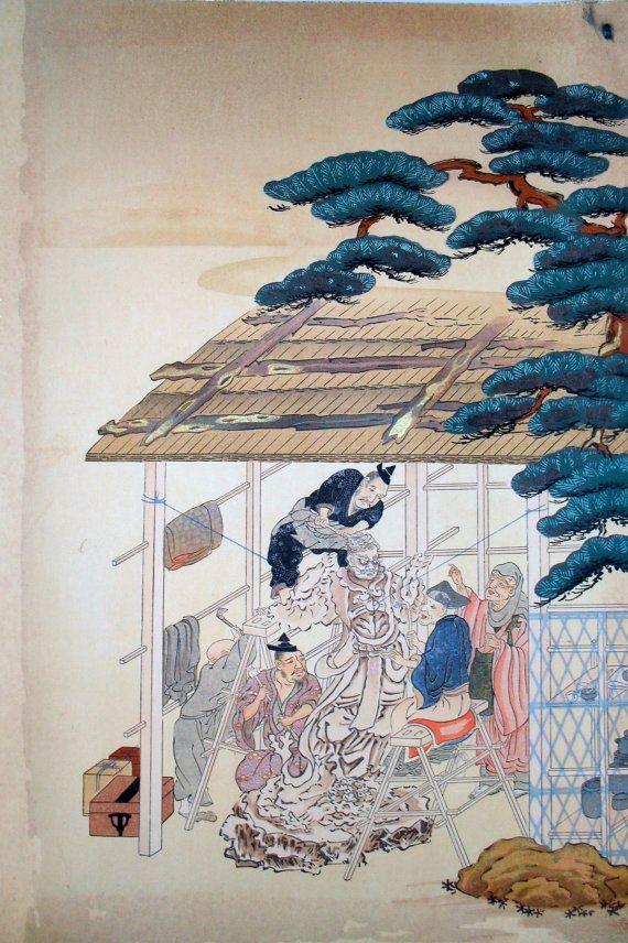 Japan antique print Late Meiji or Taisho  Era early by klektik