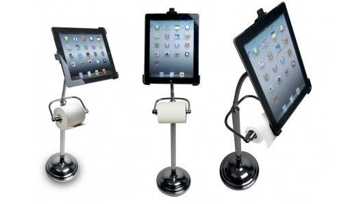 The Pedestal Stand for iPad from CTA Digital provides a hands-free way of using your tablet on the toilet.