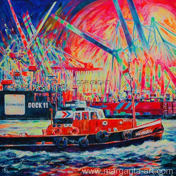 Original GEMÄLDE Faszination HAMBURG Hafen 05 XXL von Art & Design aus Hamburg auf DaWanda.com #Hamburg #Hafen #Hamburger #Heimathafen #Schlepper #Gemälde #Hamburgbilder #kunst #Ausstellung