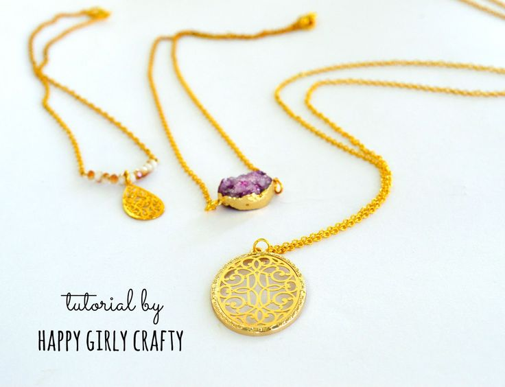 happy girly crafty: Layered dainty necklaces DIY!