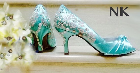 Aqua shoes, aquamarine shoes, Aqua blue Wedding Shoes , painted pink roses, Marie Antoinette shoes, satin peep toes, crystals and pearls