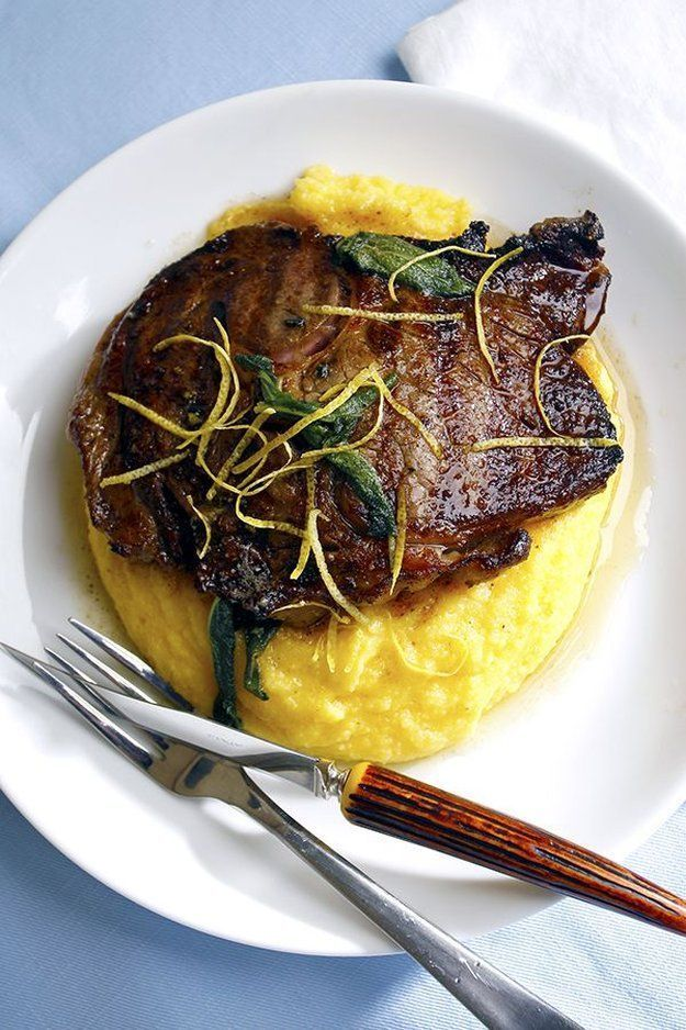 At Home Romantic First Date Dinner Ideas | Parmesan Polenta Topped with Lemon & Sage Steaks by Homemade Recipes at http://homemaderecipes.com/course/desserts/24-amazing-first-date-dinner-recipes