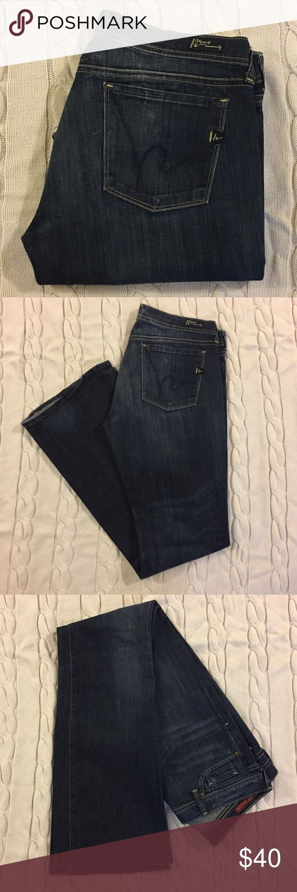 """Citizens of Humanity Stretch Bootcut Jeans Citizens of Humanity Stretch Bootcut Jeans - Dark Wash with Fading - 33.5"""" Inseam - Excellent Used Condition Citizens of Humanity Jeans Flare & Wide Leg"""