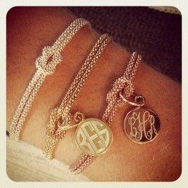Monogrammed square knot bracelet. I love the gold rope bracelet