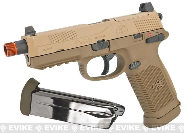 Cybergun Fn Herstal Licensed Fnx 45 Tactical Airsoft Gas Blowback Pistol By Vfc Color Dark Earth Add Extra Magazine Airsoft Pistol Airsoft Guns