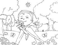 Coloring Red Riding Hood with flowers vector Royalty Free Stock Images