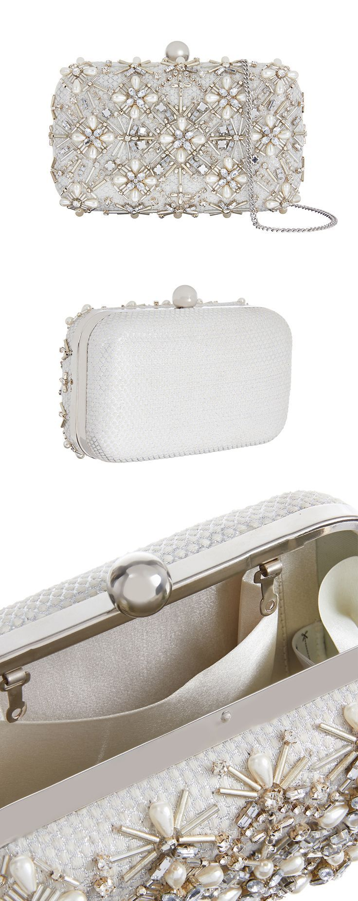 Veronique £45.00 Bridal Hardcase Jewel Beaded Clutch Bag. Accessorize. Woven in shimmery jacquard and bejewelled in a stunning design, our Veronique hard-case clutch bag is destined for a stylish bride. Set with bugle beads, faux pearls and crystal gems, it features a sleek metal frame and a chain strap inside. #bags #eveningwear #sequins #bling #bagaddict #affiliatelink #aw17 #clutchbags