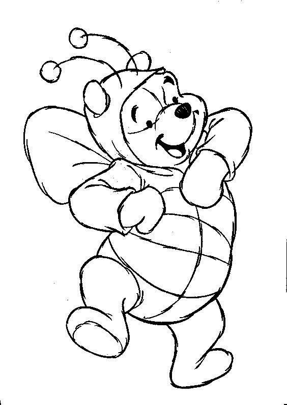 free printable cartoon coloring pages - Pooh Bear Coloring Pages Birthday
