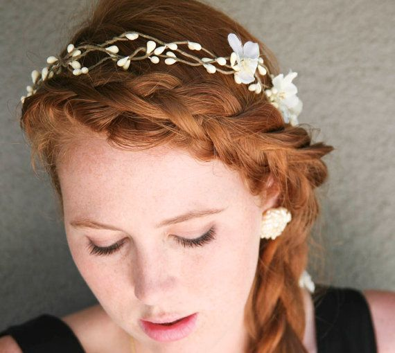 Fl Hair Wreath Woodland Wedding Rustic Bridal With Flowers And Ribbon Ties Headpiece Headband Flower Crown