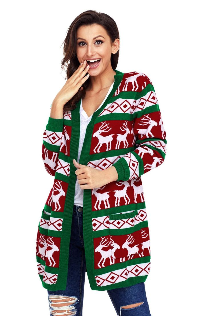 Now Available on chicloth.com: Chicloth Green Re.... Check it out here:  http://chicloth.com/products/chicloth-green-red-reindeer-geometric-christmas-cardigan?utm_campaign=social_autopilot&utm_source=pin&utm_medium=pin