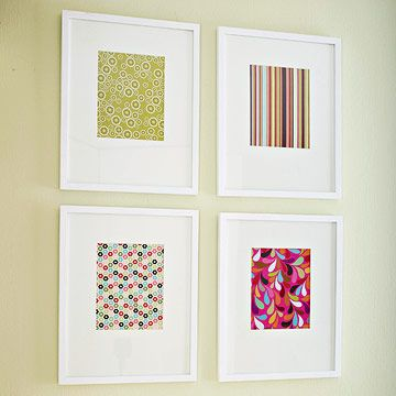 frame scrapbook paper. cheaper than buying prints. also, wallpaper, wrapping paper, or fabric.