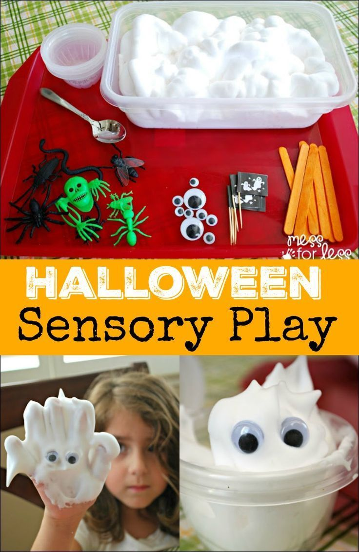Halloween Sensory Play - Shaving cream and Halloween toys provide a fun sensory…