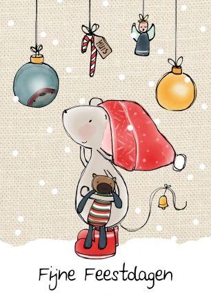 Muis kerstkaart (Ontwerp van Muis Illustraties)