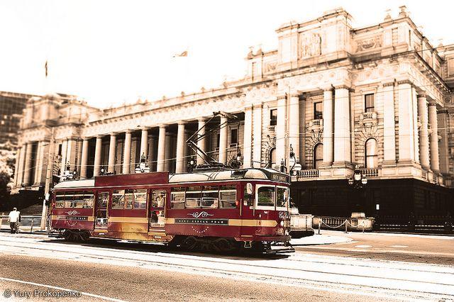Melbourne tram, Parliament House in the background Melbourne, Victoria, Australia