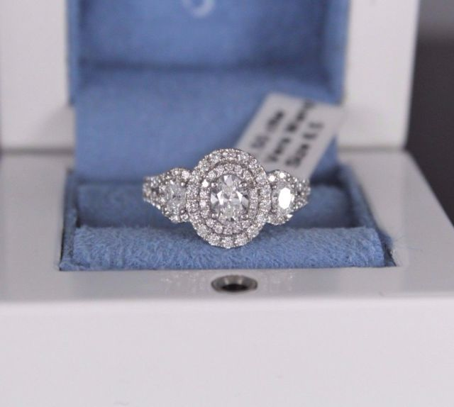 $4799 Vera Wang Love 14k White Gold 1.50ct Oval Halo Diamond Engagement Ring 6.5 | eBay
