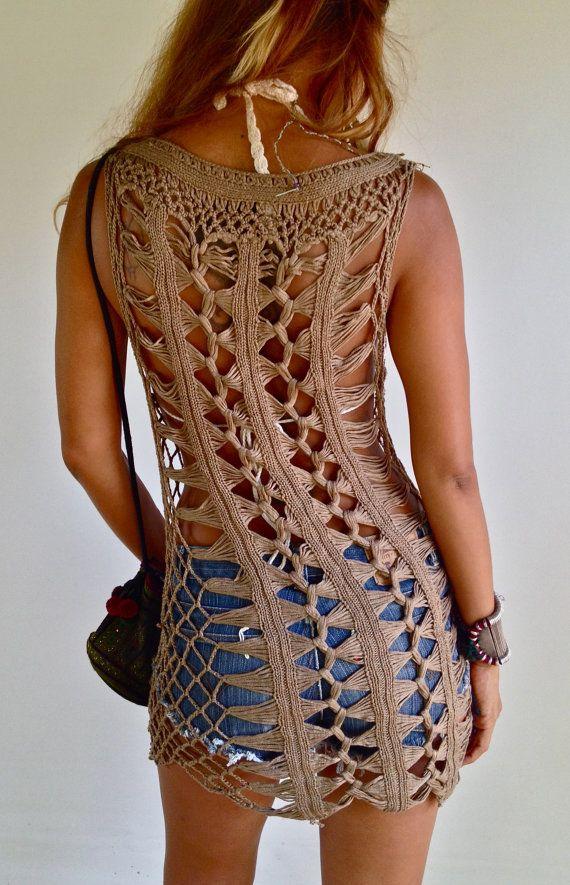 Brown Crochet Dress beach dress by PadMa88 on Etsy