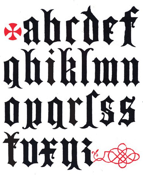 Alphabet design by Augustus Welby Northmore Pugin, produced in 1844.