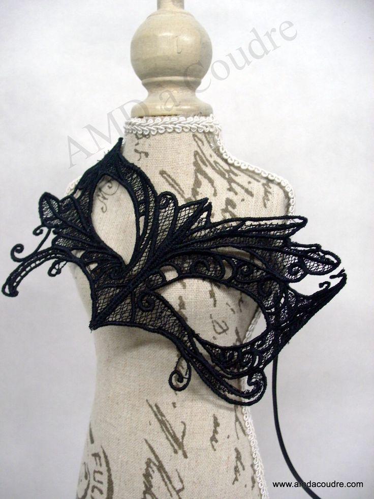 masque vénitien, noir en dentelle, broderie, pour carnaval de venise, loup en dentelle, par amd a coudre : Autres accessoires par amd-a-coudre