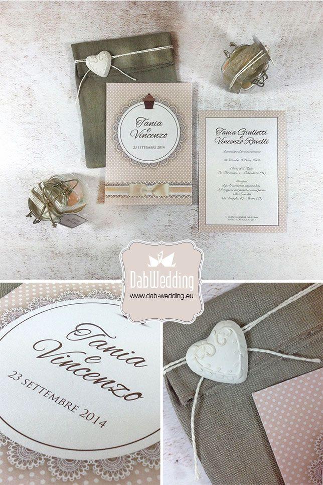 #Majestic #Favini SoShabby, partecipazione Shabby Chic by Dab Wedding www-dab-wedding.com