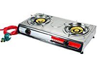 Double Portable Super Gas Stove Large Propane Brass Burner BBQ w/ Lpg Regulator