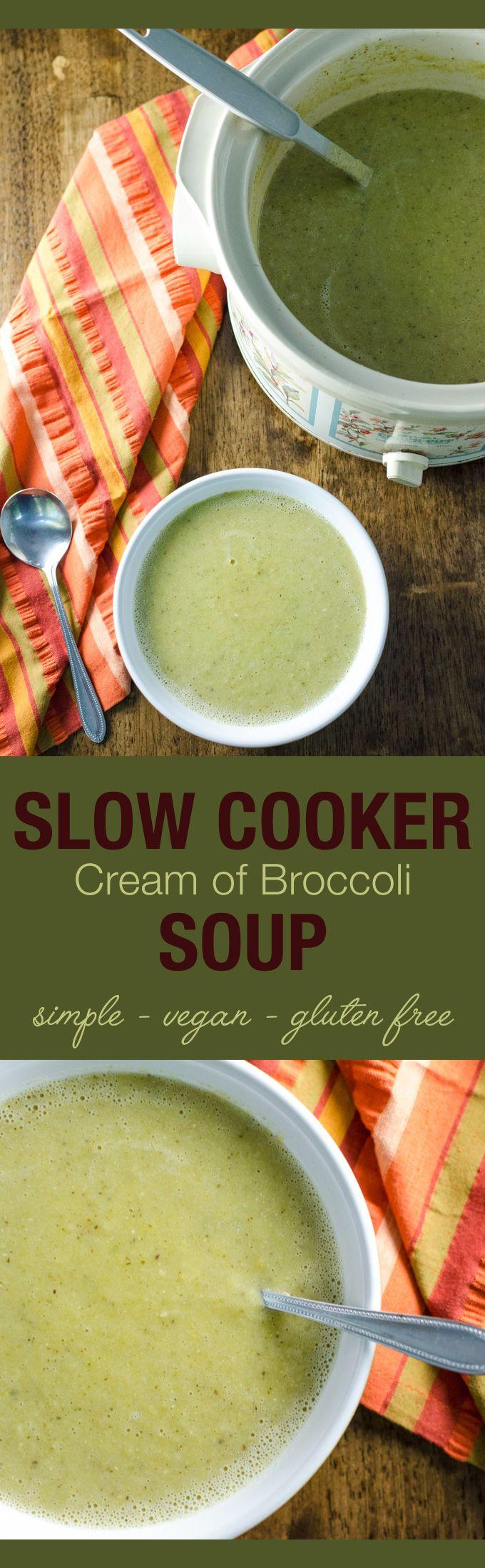 Slow Cooker Cream of Broccoli Soup - a simple vegan and gluten free crock pot recipe made primarily with frozen veggies! | VeggiePrimer.com